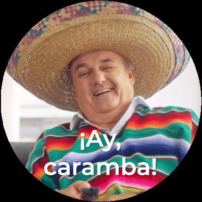 """Foto des Vaters aus dem Fernsehspot von Österreichprogramm plus Schriftzug """"Ay, caramba!"""""""